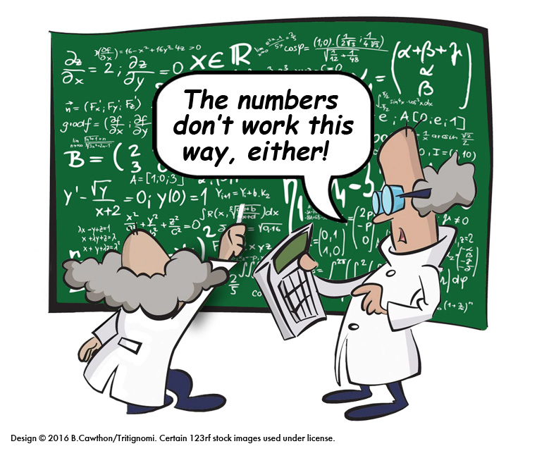 Cartoon of mathematicians with blackboard