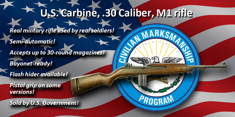 Image of M1 Carbine and Civilian Marksmanship logo on American flag background