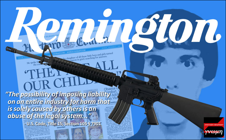 Images of Bushmaster rifle, Adam Lanza, Hartford Courant front page, Remington logo and quotation from Congressional findings